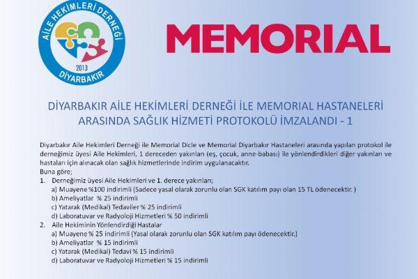 Diyahed İle Memorial Hastaneleri Arasındaki Protokol 01.01.2022 ye Kadar Uzatıldı